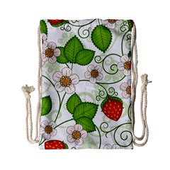 Strawberry Fruit Leaf Flower Floral Star Green Red White Drawstring Bag (small) by Mariart