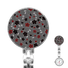 Floral Pattern Stainless Steel Nurses Watch by Valentinaart