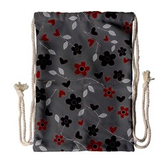 Floral Pattern Drawstring Bag (large) by Valentinaart