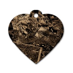 Vintage Newspaper  Dog Tag Heart (one Side) by Valentinaart