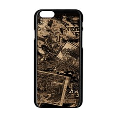 Vintage Newspaper  Apple Iphone 6/6s Black Enamel Case by Valentinaart