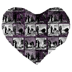Comic Book  Large 19  Premium Flano Heart Shape Cushions by Valentinaart