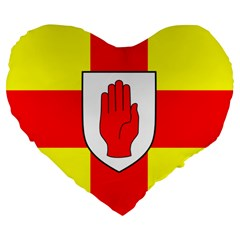Flag Of The Province Of Ulster  Large 19  Premium Heart Shape Cushions by abbeyz71