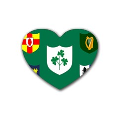 Ireland National Rugby Union Flag Rubber Coaster (heart)  by abbeyz71