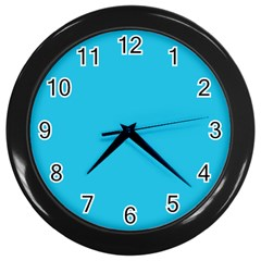 Neon Color   Brilliant Arctic Blue Wall Clocks (black) by tarastyle