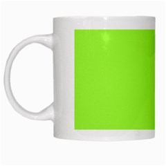 Neon Color   Brilliant Charteuse Green White Mugs by tarastyle