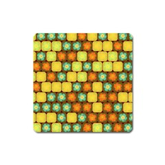 Random Hibiscus Pattern Square Magnet by linceazul