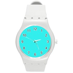 Neon Color   Brilliant Cyan Round Plastic Sport Watch (m) by tarastyle