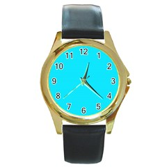 Neon Color   Light Brilliant Arctic Blue Round Gold Metal Watch by tarastyle