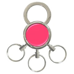 Neon Color   Light Brilliant Crimson 3 Ring Key Chains