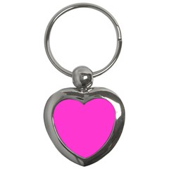 Neon Color   Light Brilliant Fuchsia Key Chains (heart)  by tarastyle