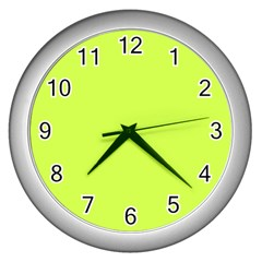 Neon Color   Light Brilliant Lime Green Wall Clocks (silver)  by tarastyle