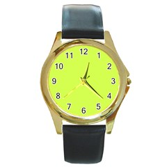 Neon Color   Light Brilliant Lime Green Round Gold Metal Watch by tarastyle