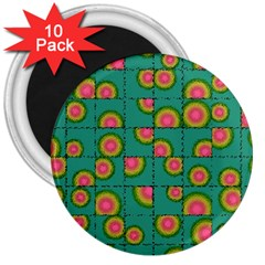 Tiled Circular Gradients 3  Magnets (10 Pack)  by linceazul