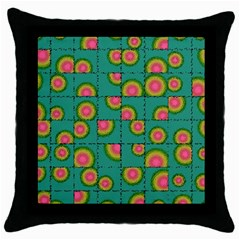 Tiled Circular Gradients Throw Pillow Case (black) by linceazul