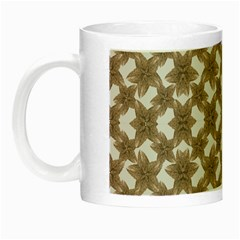 Stylized Leaves Floral Collage Night Luminous Mugs by dflcprints