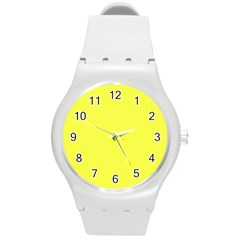 Neon Color   Light Brilliant Yellow Round Plastic Sport Watch (m) by tarastyle