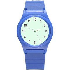 Neon Color   Light Malachite Greenish Gray Round Plastic Sport Watch (s) by tarastyle