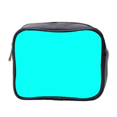 Neon Color   Luminous Vivid Cyan Mini Toiletries Bag 2 Side by tarastyle
