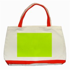 Neon Color   Luminous Vivid Lime Green Classic Tote Bag (red) by tarastyle