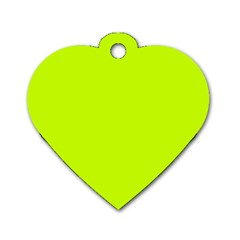 Neon Color   Luminous Vivid Lime Green Dog Tag Heart (two Sides) by tarastyle