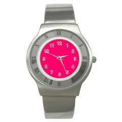 Neon Color   Luminous Vivid Raspberry Stainless Steel Watch by tarastyle