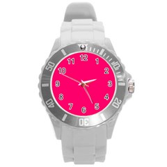 Neon Color   Luminous Vivid Raspberry Round Plastic Sport Watch (l) by tarastyle