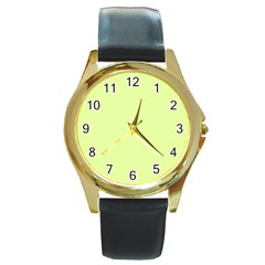 Neon Color   Pale Lime Green Round Gold Metal Watch