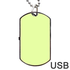 Neon Color   Pale Lime Green Dog Tag Usb Flash (two Sides)
