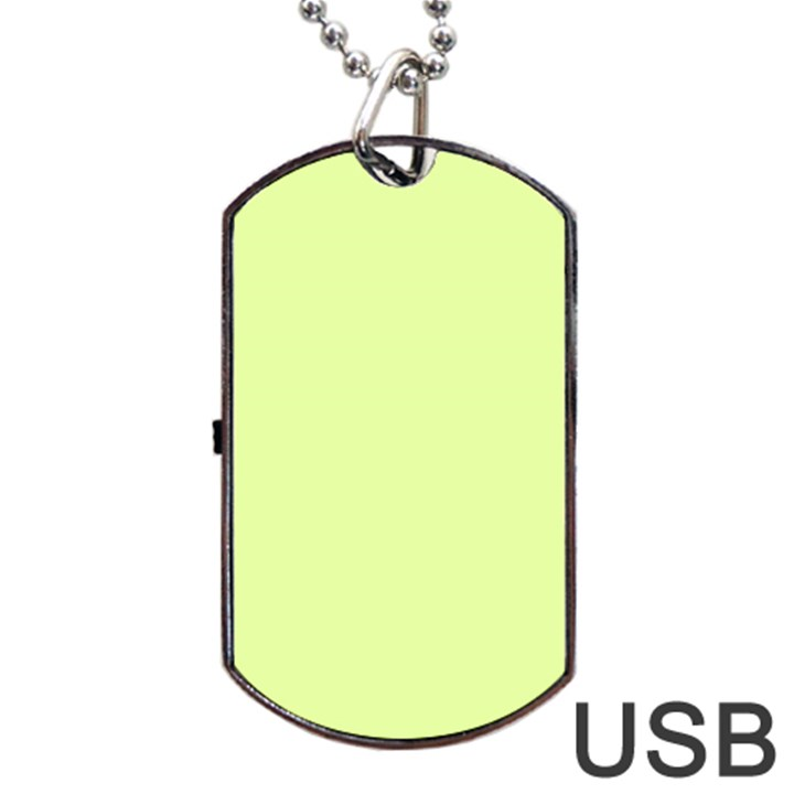 Neon Color - Pale Lime Green Dog Tag USB Flash (Two Sides)