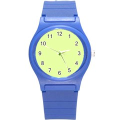 Neon Color   Pale Lime Green Round Plastic Sport Watch (s)