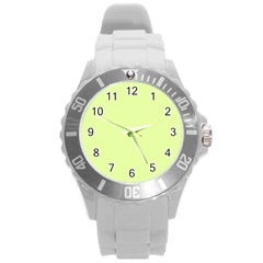 Neon Color   Pale Lime Green Round Plastic Sport Watch (l) by tarastyle