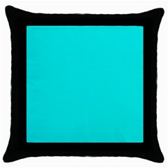Neon Color   Vivid Cyan Throw Pillow Case (black) by tarastyle