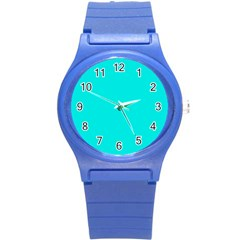 Neon Color   Vivid Cyan Round Plastic Sport Watch (s) by tarastyle