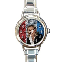Marine Le Pen Round Italian Charm Watch by Valentinaart