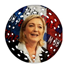 Marine Le Pen Round Filigree Ornament (two Sides) by Valentinaart