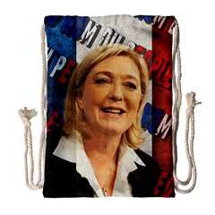 Marine Le Pen Drawstring Bag (large) by Valentinaart