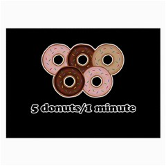 Five Donuts In One Minute  Large Glasses Cloth (2 Side) by Valentinaart