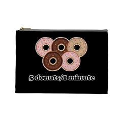 Five Donuts In One Minute  Cosmetic Bag (large)  by Valentinaart