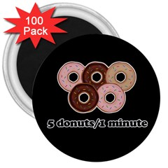 Five Donuts In One Minute  3  Magnets (100 Pack) by Valentinaart