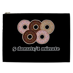 Five Donuts In One Minute  Cosmetic Bag (xxl)  by Valentinaart