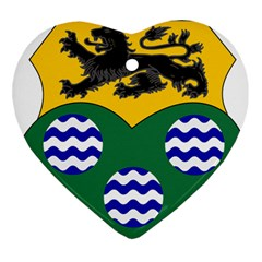 County Leitrim Coat Of Arms Heart Ornament (two Sides) by abbeyz71