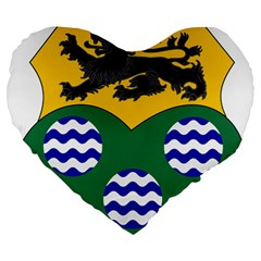 County Leitrim Coat Of Arms Large 19  Premium Flano Heart Shape Cushions by abbeyz71