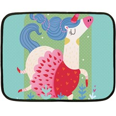 Unicorn Double Sided Fleece Blanket (mini)  by Mjdaluz