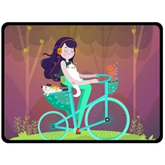 Bikeride Fleece Blanket (large)  by Mjdaluz