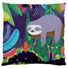 Sloth In Nature Large Cushion Case (one Side)