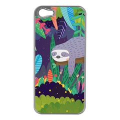 Sloth In Nature Apple Iphone 5 Case (silver) by Mjdaluz