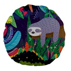 Sloth In Nature Large 18  Premium Flano Round Cushions by Mjdaluz