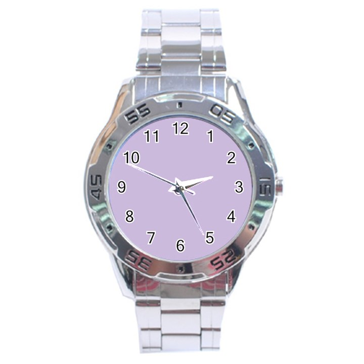 Pastel Color - Light Violetish Gray Stainless Steel Analogue Watch