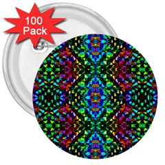Glittering Kaleidoscope Mosaic Pattern 3  Buttons (100 Pack)  by Costasonlineshop